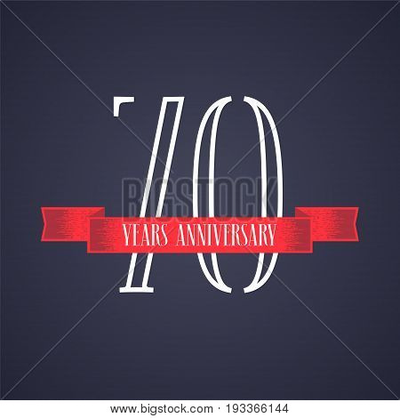 70 years anniversary vector icon logo. Graphic design element with red ribbon and number for 70th anniversary celebration