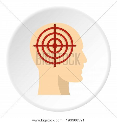 Human head with red crosshair icon in flat circle isolated on white background vector illustration for web