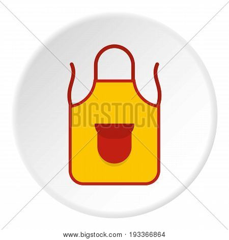 Yellow apron with red pocket icon in flat circle isolated on white background vector illustration for web