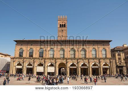 Bologna Italy - April 22 2017: Palace of the Podestà in the main square with tourist in Bologna (Italy)