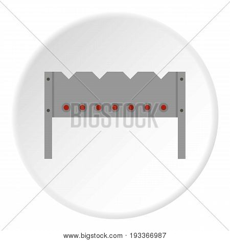 Steel brazier icon in flat circle isolated on white background vector illustration for web