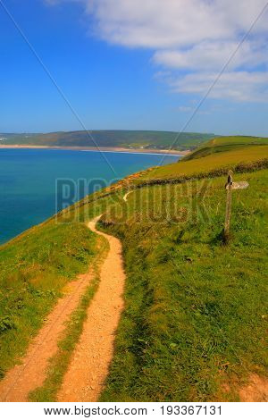 Coast path to Woolacombe Devon England UK in summer with blue sky