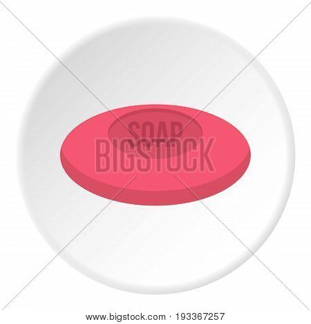 Pink soap icon in flat circle isolated on white background vector illustration for web
