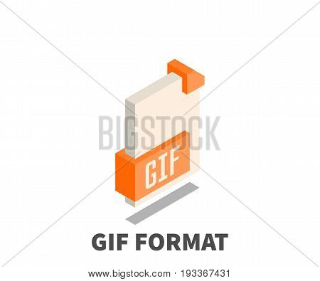 Image file format GIF icon vector symbol in isometric 3D style isolated on white background.
