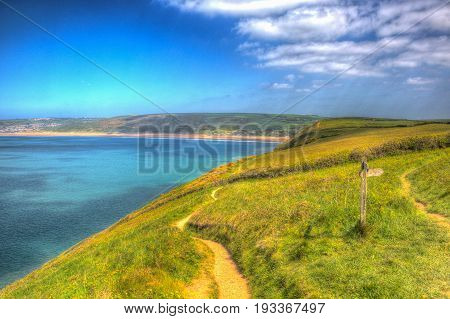 South west coast path to Woolacombe Devon England UK in summer with blue sky in colourful hdr