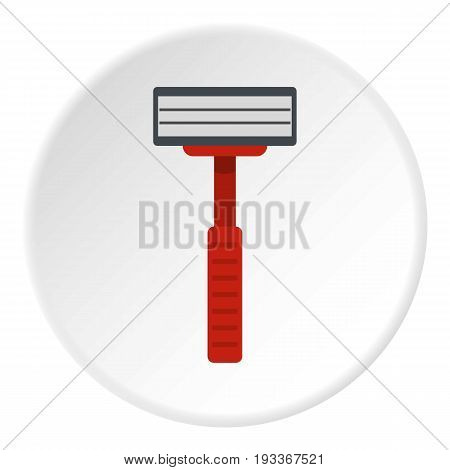 Shaver razor icon in flat circle isolated on white background vector illustration for web
