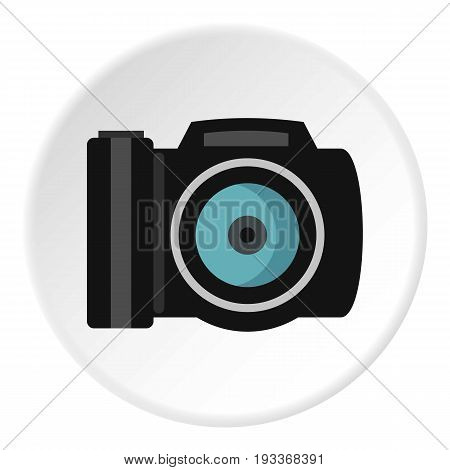 Photocamera icon in flat circle isolated on white background vector illustration for web