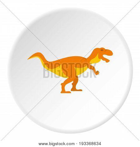 Orange tyrannosaur dinosaur icon in flat circle isolated on white background vector illustration for web