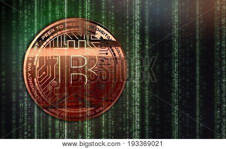 Photo Golden Bitcoins new virtual money 3D illustration