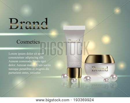 Cosmetic Cream With A Gold Cap On A Gentle Background With Pearls. Design, Advertising, Banner, Vect