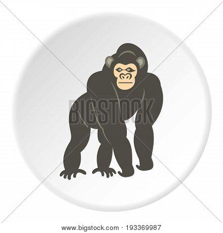 Bonobo monkey icon in flat circle isolated on white background vector illustration for web