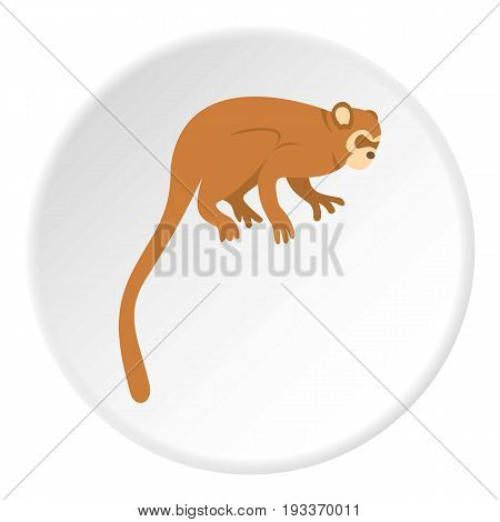 Monkey icon in flat circle isolated on white background vector illustration for web