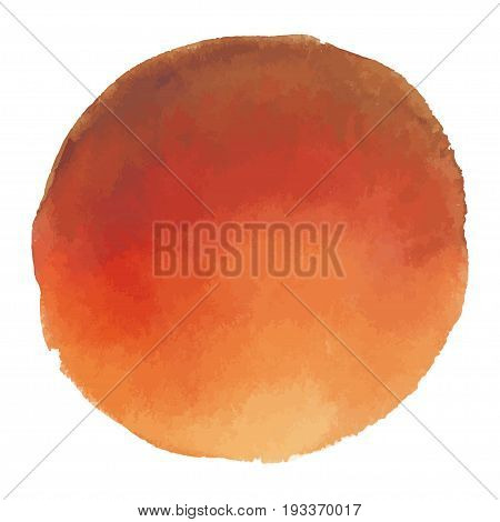 Bright red carroty blot - vector watercolor stain isolated on white background