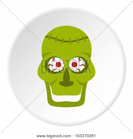 Green zombie skull icon in flat circle isolated on white background vector illustration for web