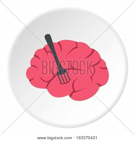 Pink brain with fork icon in flat circle isolated on white background vector illustration for web