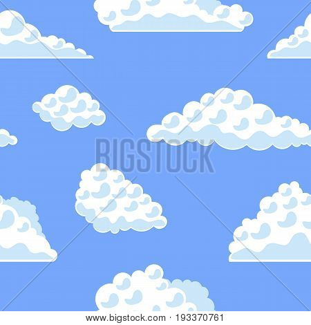 Cartoon Fluffy Clouds on The Blue Sky Background Pattern Flat Design Style. Vector illustration