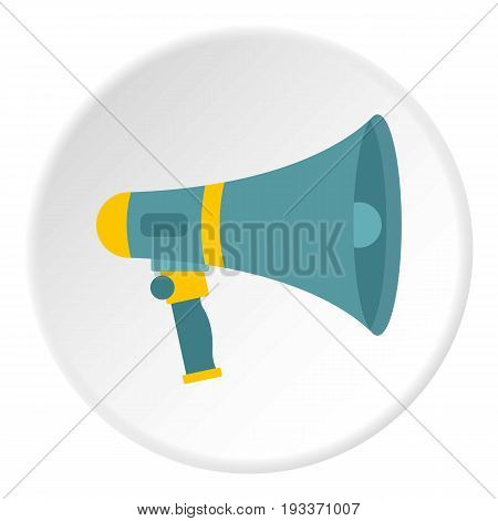 Loudspeaker icon in flat circle isolated on white background vector illustration for web