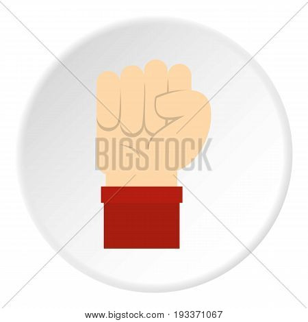 Raised up clenched male fist icon in flat circle isolated on white background vector illustration for web