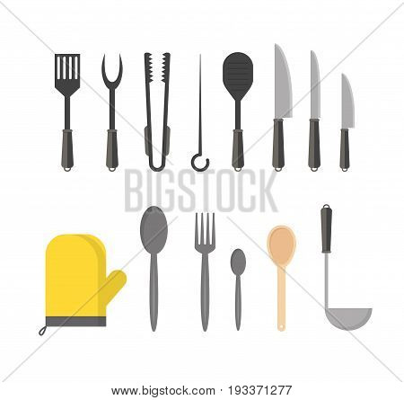 Cartoon Cookware Row Set Kitchen Utensils for Home and Restaurant Flat Design Style. Vector illustration