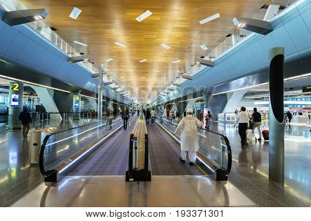 Doha, Qatar - June 2017 : Doha Hamad International Airport, Qatar. Hamad International Airport is the international airport of Doha, the capital city of Qatar and one of the major airports in Middle East.