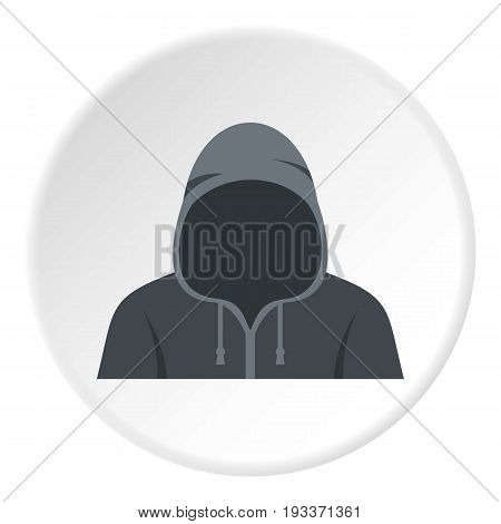 Figure in a hoodie icon in flat circle isolated on white background vector illustration for web