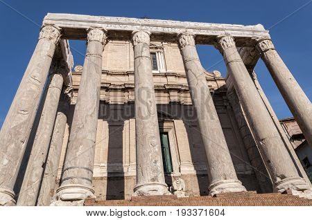 Temple of Antoninus and Faustina, in the Roman Forum, Rome, Italy
