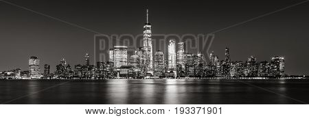 Black and White panoramic view of New York City Financial District skyscrapers. Panoramic view of Lower Manhattan
