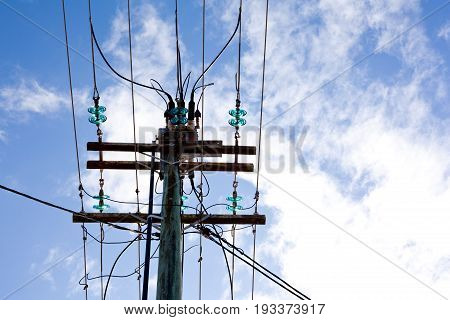 Suburban Power Lines And Pole