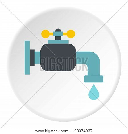 Water tap icon in flat circle isolated on white background vector illustration for web