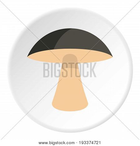 Birch mushroom icon in flat circle isolated on white background vector illustration for web
