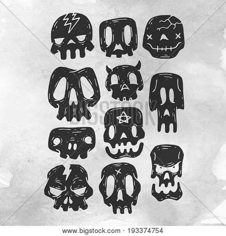 Set Of Cartoon Halloween skull. Halloween Stickers Set. Cartoon Icons. Vector illustration. Cute Halloween skull.