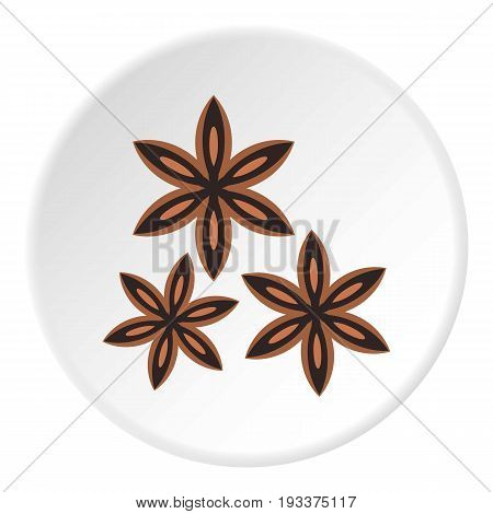 Star anise spice icon in flat circle isolated on white background vector illustration for web