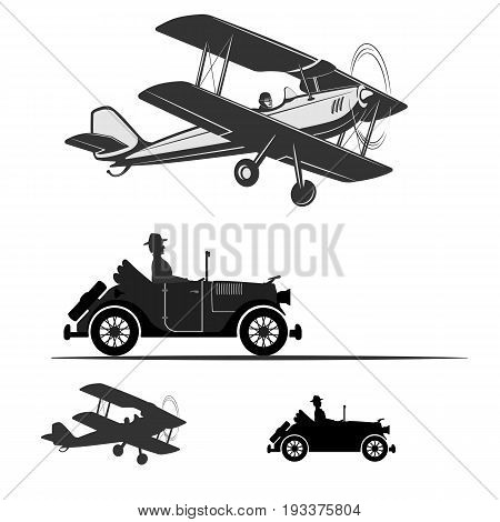 A biplane with a pilot in the cockpit. Retro airplane and car. Monochrome drawing