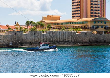 Pilot Boat by Curacao Hotel in Blue Water