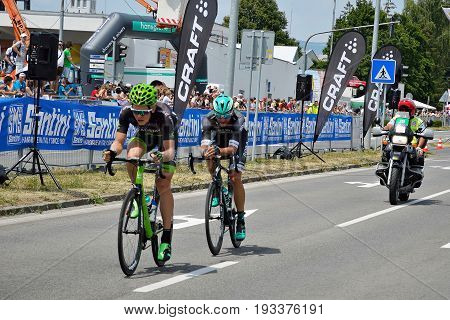 ZIAR NAD HRONOM, SLOVAKIA - JUNE 26, 2017: The Slovak and Czech National road cycling championship. Jan Barta from Bora Hansgrohe cycling team