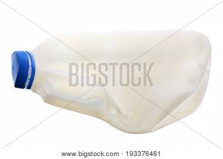Crushed Milk Bottle on Isolated White Background