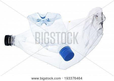 Crushed Plastic Bottles on Isolated White Background