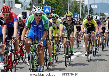 ZIAR NAD HRONOM, SLOVAKIA - JUNE 26, 2017: The Slovak and Czech National road cycling championship. Patrik Tybor CK Banska Bystrica cycling team