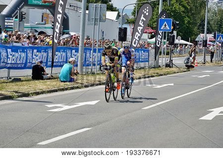 ZIAR NAD HRONOM, SLOVAKIA - JUNE 26, 2017: The Slovak and Czech National road cycling championship. Zdenek Stybar from Quick Step Floors cycling team.