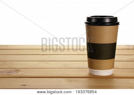 Takeaway Paper Cup on a Wooden Background