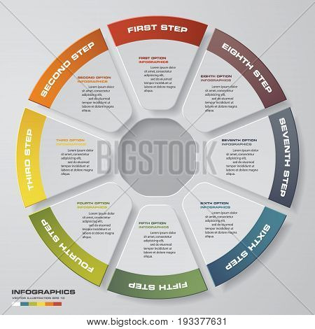 Abstract 8 steps modern pie chart infographics elements.Vector illustration.