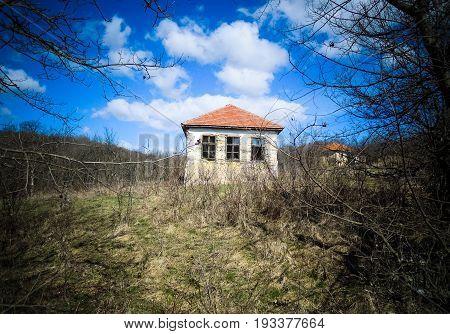 Abandoned house. Old abandoned mountain village house. Serbia.