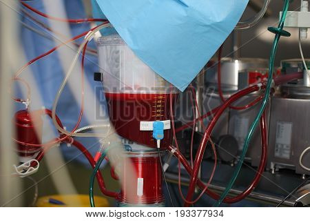 Artificial blood-circulation apparatus full of blood. Macro photo