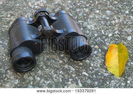 Classic Metallic Black Binoculars or Field Glasses Used for Viewing Distant or Far Away Objects.