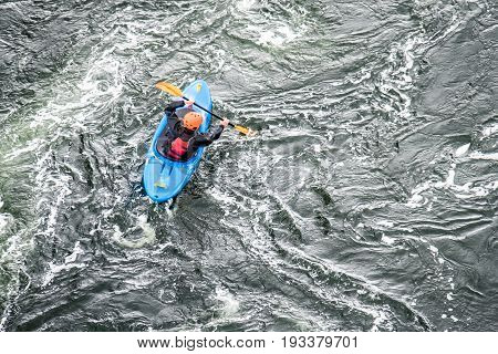 Shot of a canoe driver with copy space, aerial