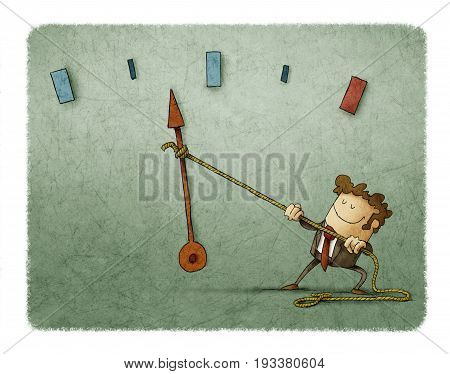 Businessman with a rope tied to the needle of a speed meter from which he is pulling
