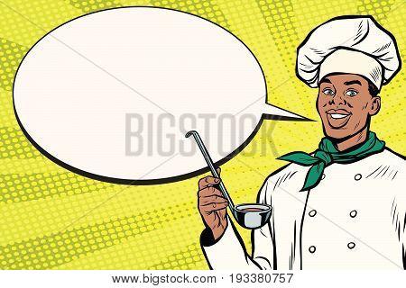 African chef with ladle cartoon bubble. Pop art retro vector illustration