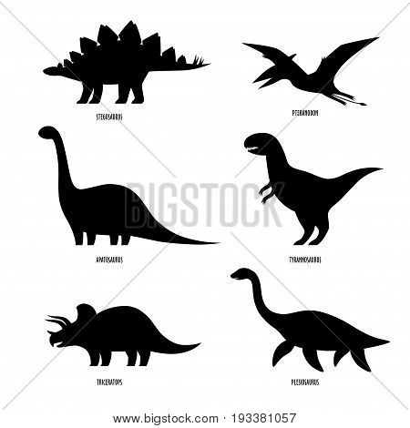 Dinosaurs silhouette. Dinosaurs set isolated on white.