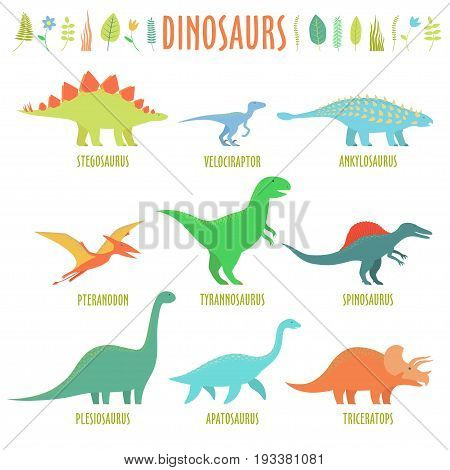 Dinosaurus set isolated on white background. Dinosaurs types