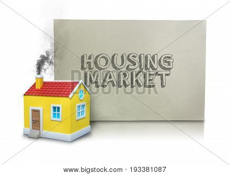 Digital composite image of smoke emitting from house model with text on placard against white background
